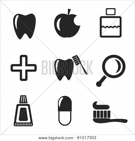 Set Of Dental Web And Mobile Icons. Vector.