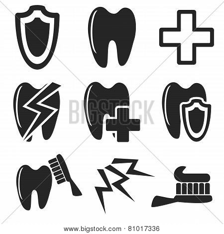 Dental Web And Mobile Icons Collection. Vector.