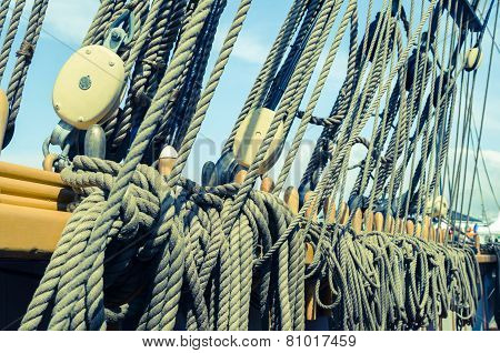 Blocks And Tackles Of A Sailing Vessel