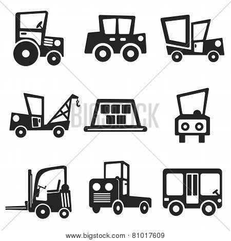 Cars Web And Mobile Icons Set. Vector.
