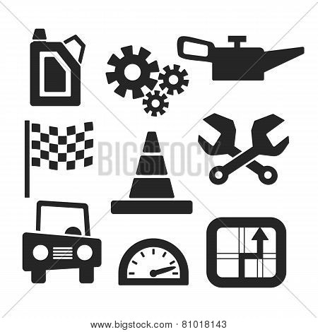 Cars Vector Web And Mobile Icons. Vector