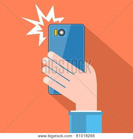 Taking Selfie With Flash. Hand With Smartphone. Vector.