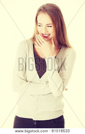 Beautiful casual caucasian woman laughing.