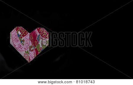 Origami Valentine Heart on Black