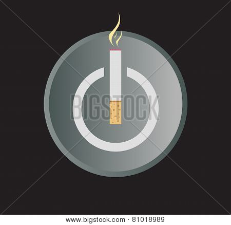 Electronic Cigarette Power Button Vector Illustration