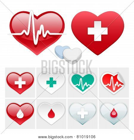 Vector Medical Set of Hearts Icons