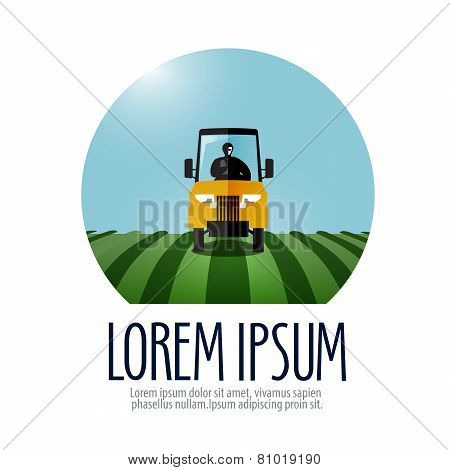 tractor vector logo design template. farm or harvest icon.