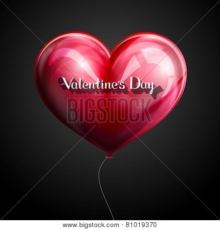 vector holiday illustration of flying red balloon heart with lettering retro emblem. Happy Valentine