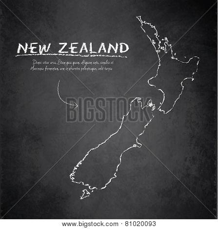 New Zealand map blackboard chalkboard vector