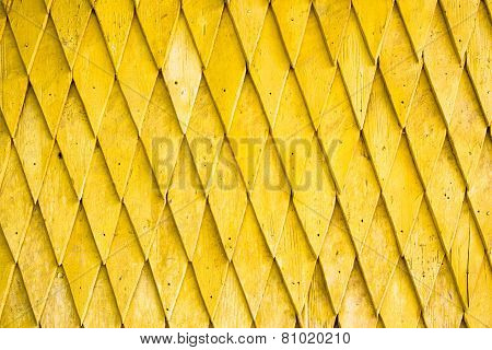 Yellow Painted Wooden Shingle Surface