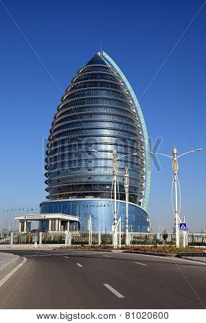 Ashgabat, Turkmenistan - October 15, 2014: Modern Architecture Of Ashgabat. Hotel. Ashkhabad.