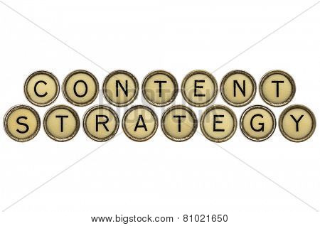 content strategy - text in old round typewriter keys isolated on white