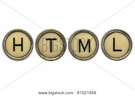 HTML  -  acronym in old round typewriter keys isolated on white