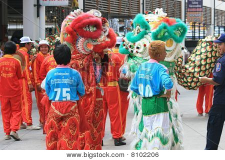 People at Chinese new year, Thailand.