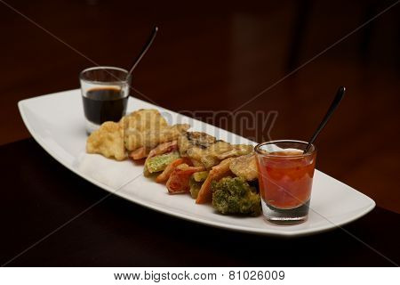 Tempura Vegetable Platter With Glasses Of Sauce