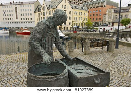 Exterior of the Herring woman monument in Alesund, Norway.