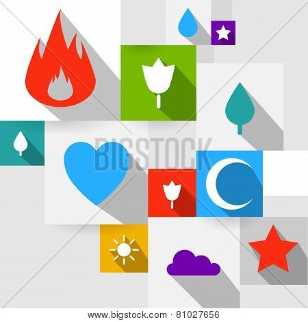 Vector set of modern flat icons.