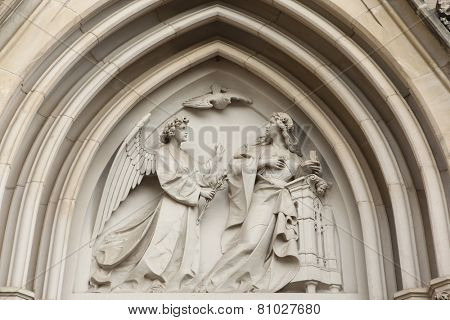 The Annunciation. Gothic relief in Saint Wenceslas Cathedral in Olomouc, Czech Republic.