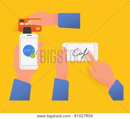 Mobile acquiring with signature