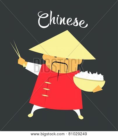 Chinese man character or monk, citizen of the China with rice and chopsticks