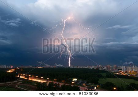 Summer thunderstorm with lightning over Moscow