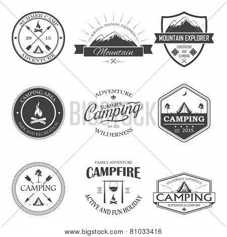 Camping labels set