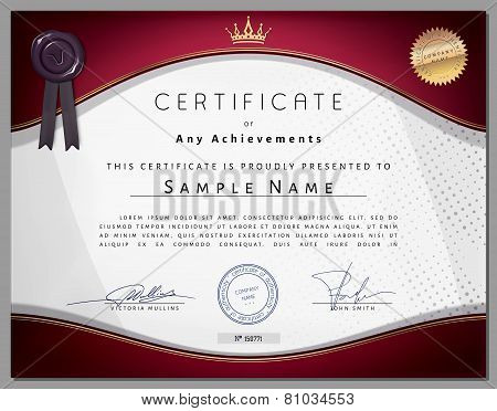 Vintage Certificate Template With Vinous Border And Golden Elements On Dotted Paper In Vector