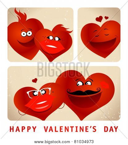 Valentine`s card with imitation photo booth series of funny couple hearts.