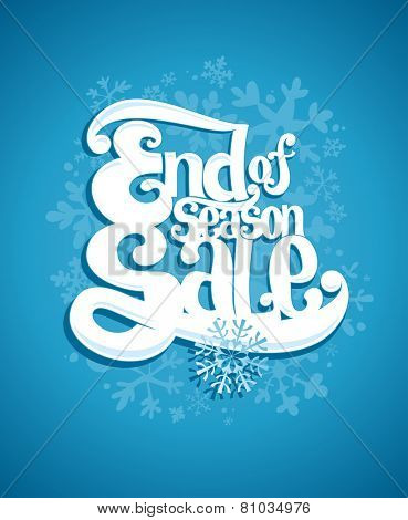 End of winter season sale typographic illustration.