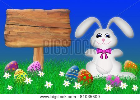Easter Bunny Surround by Easter Eggs