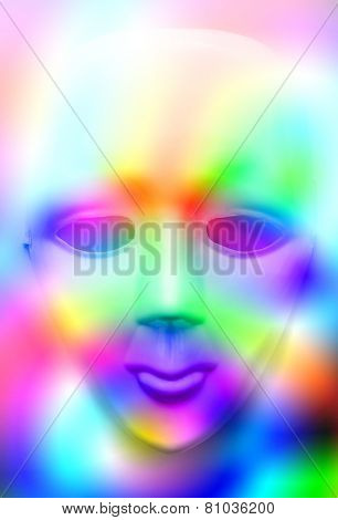 Face mask in colourfull lights