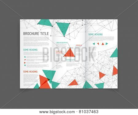 Modern Vector three fold brochure / leaflet / flyer design template with triangles