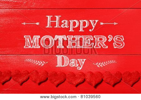 Happy Mothers Day Message With Red Felt Hearts