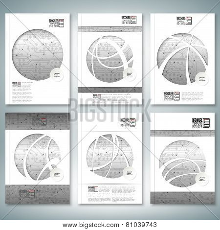 Electronic circuit, microchip background. Brochure, flyer or report for business, template vector