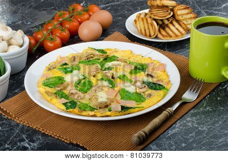 Frittata With Ham, Mushrooms And Spinach