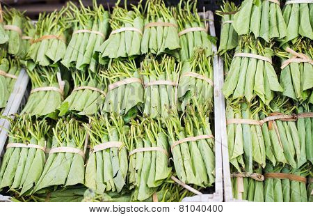 Betel Leaves At A Market In Myanmar