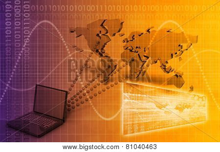 Computer Technology Concept with Global Reach art