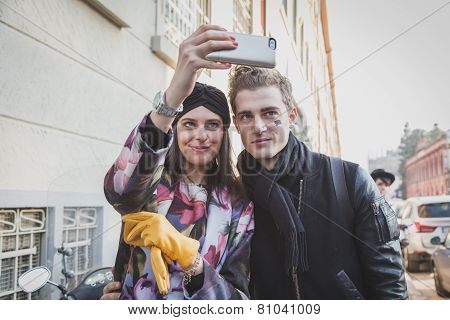 Girl With Model Taking A Selfie Outside Dirk Bikkembergs Fashion Show Building For Milan Men's Fashi
