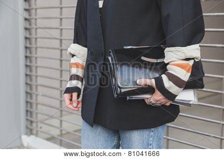 Detail Of A Bag Outside Dirk Bikkembergs Fashion Show Building For Milan Men's Fashion Week 2015