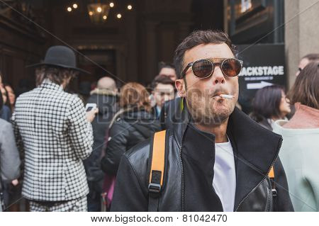 People Outside Cavalli Fashion Show Building For Milan Men's Fashion Week 2015