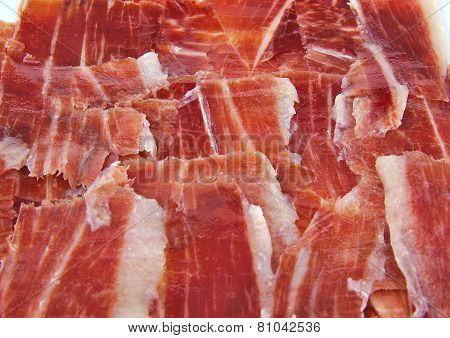 Closeup of spanish serrano ham. Jabugo.