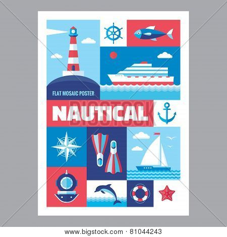 Nautical - mosaic poster with icons in flat design style. Vector icons set. Set of icons marine.
