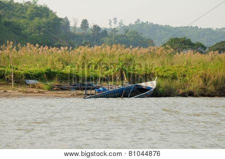 Beached Boat on Mekong River
