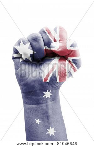 Commonwealth Of Australia Flag Fist Painted Isolated On White.