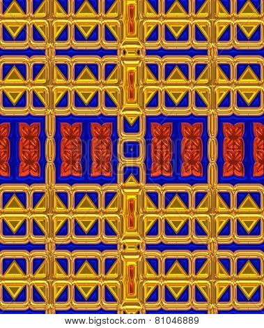 Colorful background in gold, blue and red in a unique pattern.