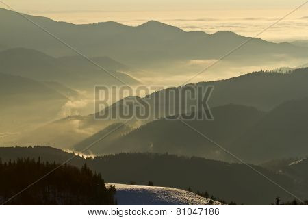misty morning on Vosges mountains, France