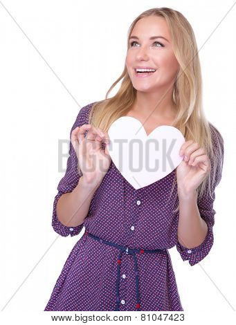 Portrait on nice female holding in hand romantic heart-shaped greeting card isolated on white background, cute gift on Valentine day