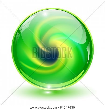3D crystal, glass sphere with abstract spiral shape inside, vector illustration.