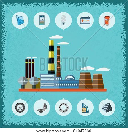Illustration of plant with icons of industrial production. Vector.