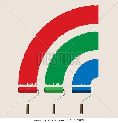 Illustration set of roller brushes with strips paint. Vector.